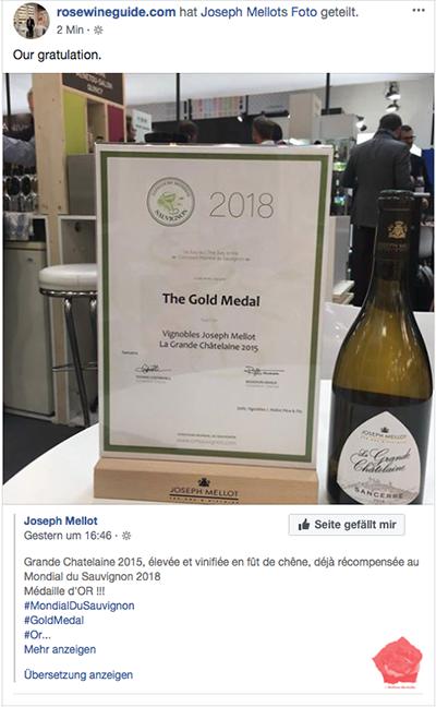 Gold Medal Concours Mondial du Sauvignon 2018 -La Grande Châtelaine 2015